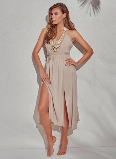 Morhipo Beach Yırtmaçlı Elbise Bej